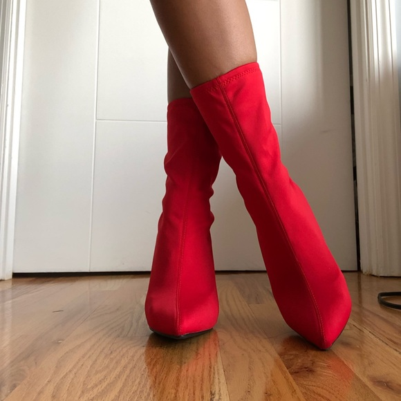 Anne Michelle Shoes - Red sock boot style heels